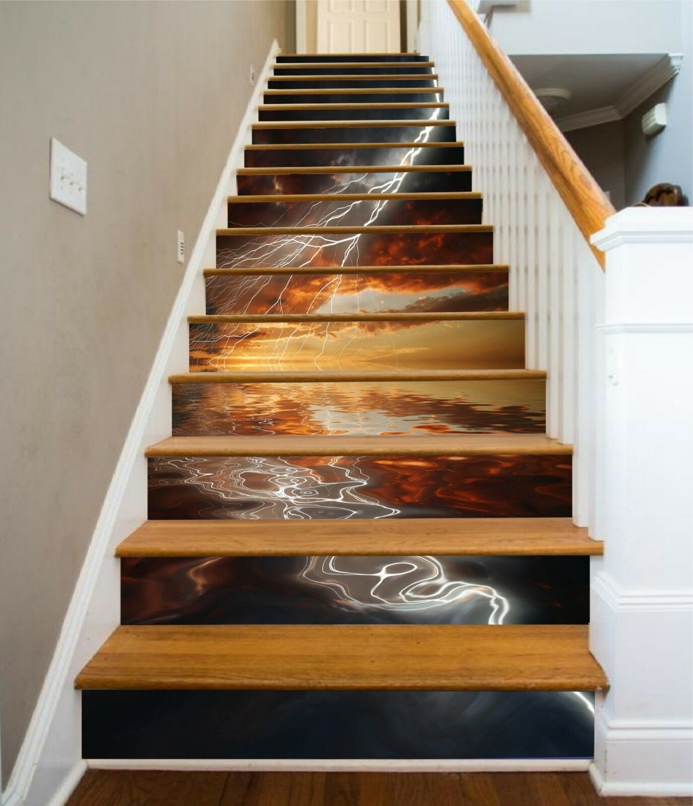3D Lightning Sunset Stair Risers Decoration Photo Mural Vinyl Decal Wallpaper US