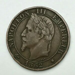 Dated-1862-A-France-Cinq-Centimes-5-Centimes-Coin-Napoleon-III