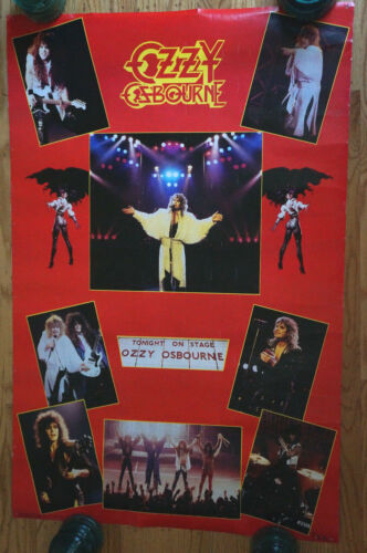"""Vintage Monowise Funky 1986 OZZY OSBOURNE 22"""" X 34"""" Cool Retro Collage Poster"""