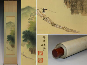 JAPANESE-PAINTING-HANGING-SCROLL-FROM-JAPAN-LANDSCAPE-ANTIQUE-PICTURE-857m