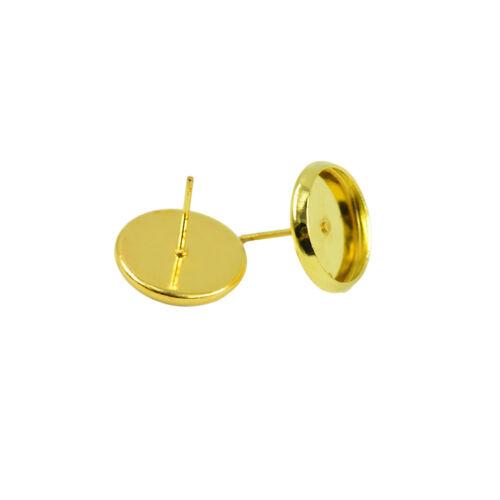 48pcs Ear Stud Post Blank Earrings findings 12mm Round Bezel for Cabochons