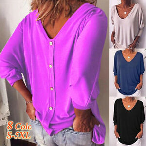 Womens-Autumn-3-4-Sleeve-Back-Buttons-Tops-V-Neck-Solid-Tshirt-Blouse-Plus-Size