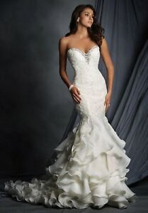 NWT-Ivory-silver-Alfred-Angelo-2527-Size-12-mermaid-bridal-gown-wedding-dress