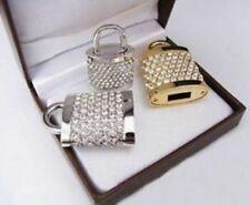 Clé USB  BIJOU Pendentif Cadenas cristal swarovski or ou argent 16 GB et collier