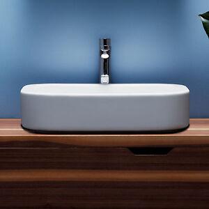 lavabo da appoggio su piano azzurra ceramica glaze 60 cm bianco ... - Arredo Bagno Su Ebay