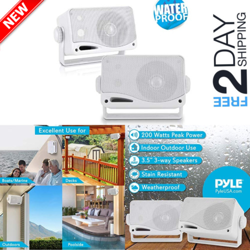 2 Set Dual Electronics 3-Way Indoor Outdoor Mount Speakers Bookshelf Home Patio