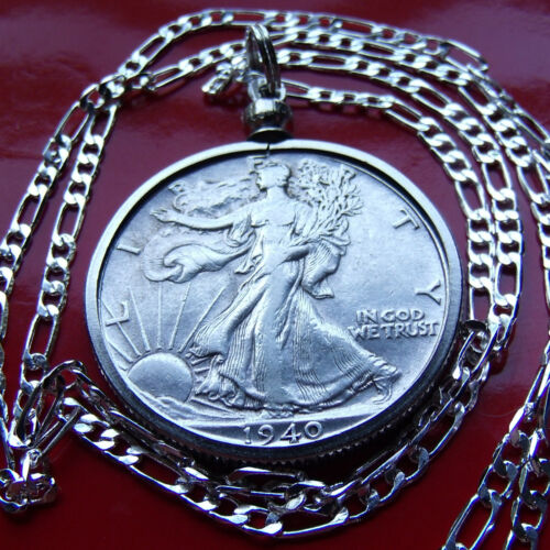 """1916-1947  Silver Walking Liberty on a 30/"""" 925 Sterling Silver Figaro Chain"""