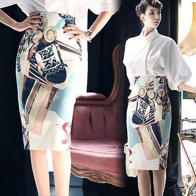 Women Fashion Print High Waist Fit Knee Length Straight Stretch OL Pencil Skirt