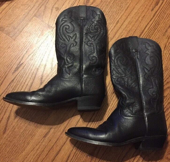 Men's Justin 1412 Western Boots Cowboy shoes Size 9EE Black Leather Mexico E8