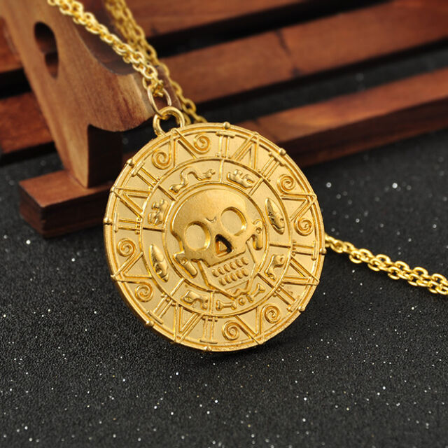 Pirates of the Caribbean Elizabeth Aztec Gold Coin Medallion Necklace Pendant
