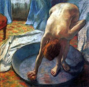 Art Oil painting female portrait Edgar Degas French - The Tub nude girl bathing