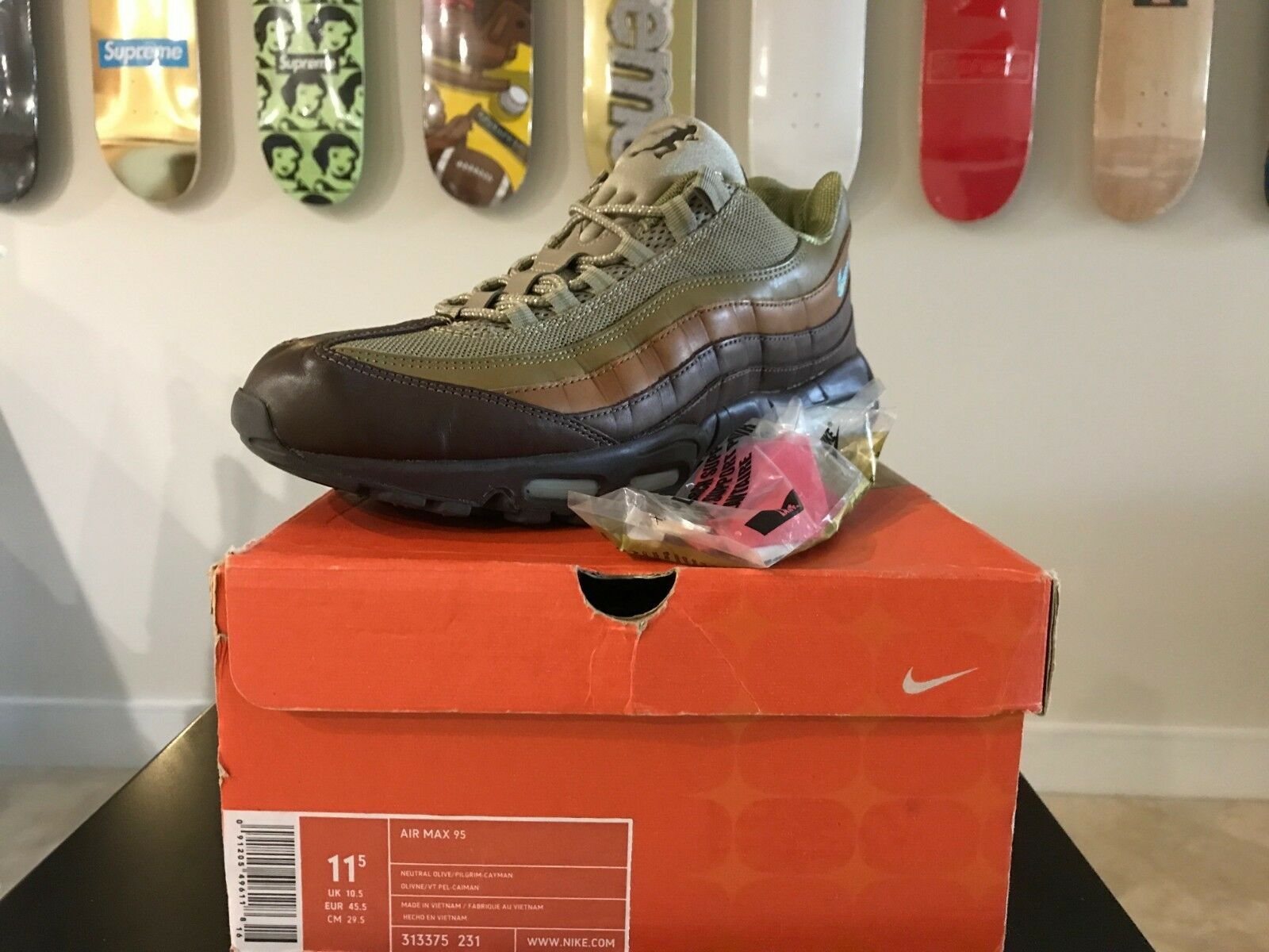Nike Air Olive Max 95 Evolution Pack Olive Air Pilgrim Cayman Blue Authentic 2005 11.5 20a628