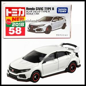 TOMICA-58-HONDA-CIVIC-TYPE-R-1-64-TOMY-2018-JUNE-NEW-MODEL-DIECAST-CAR-WHITE