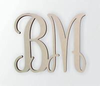 Wooden Monogram - Unfinished, Cursive Wooden Letter - Two Letter Monogram