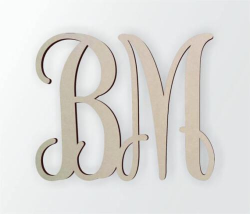 Unfinished Wooden Monogram Cursive Wooden Letter Two Letter Monogram