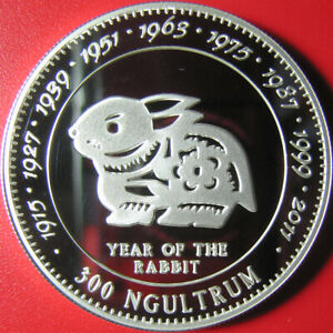 1996-BHUTAN-300-NGULTRUM-SILVER-PROOF-RABBIT-BUNNY-CHINESE-LUNAR-YEAR-SUPERB-RRR