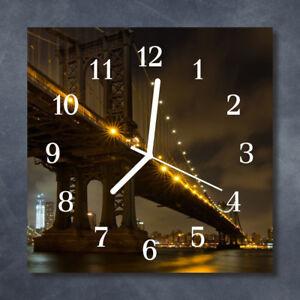 Glass-Wall-Clock-Kitchen-Clocks-30x30-cm-silent-Bridge-Night-Black