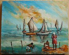 G. DUPUY, HAITI HAITIAN MID CENTURY MODERN FOLK ART OIL BOATS AT SEA SEASCAPE