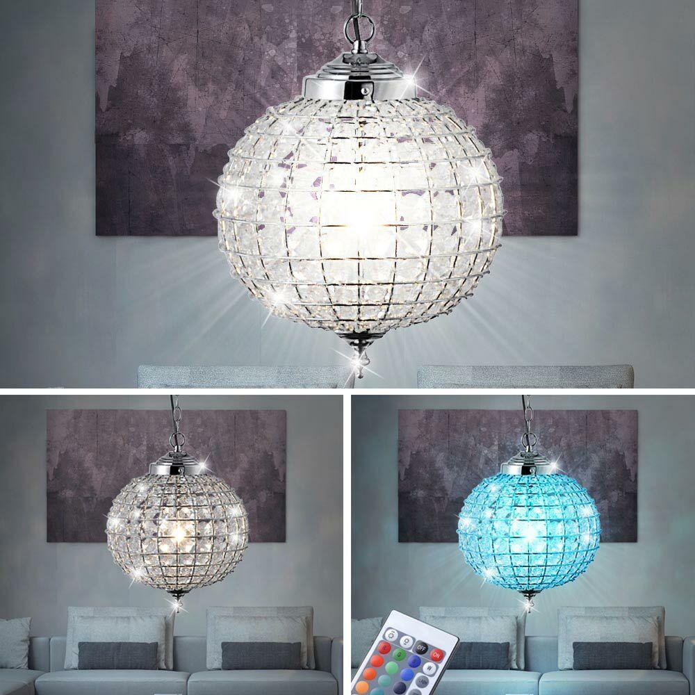 LED Decken Pendel Lampe RGB Fernbedienung Kristall  Kugel Hänge Leuchte dimmbar