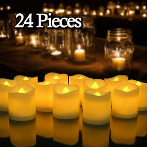 24PCS-Flameless-Votive-Candles-Battery-Operated-Flickering-LED-Tea-Light-US-Ship