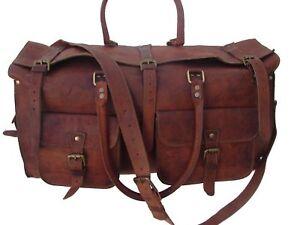 Men-039-s-genuine-bag-Leather-large-vintage-duffle-travel-gym-weekend-overnight