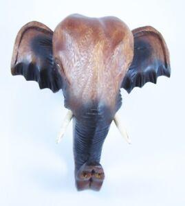 Tête D'éléphant D'asie Sculpté En Bois De Suar 20x20 Uhngw7ps-08001443-275149936