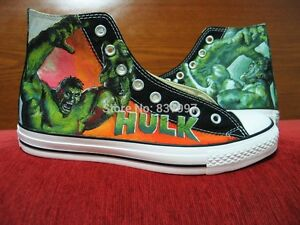 Converse Hulk The Incredible Shoes Paint Custom Marvel Canvas Black 2018