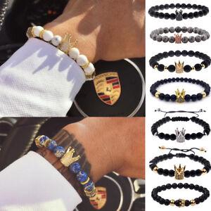 Men-Cubic-Zircon-24kt-Gold-Plated-Crown-Bracelet-Bead-Macrame-Elastic-Bracelets