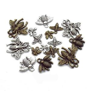 9pcs Silver Bumble Bee Honeybee Insects Charms Pendants Beads For Jewelry Making