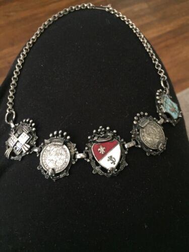 coro vintage coin /shield necklace