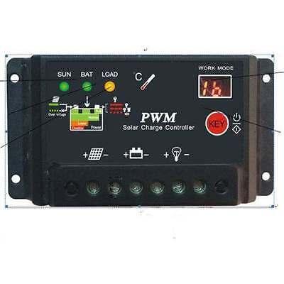 10A 20A 30A Digital Led PWM 12V 24V Solar Charge Controller Protection Regulator
