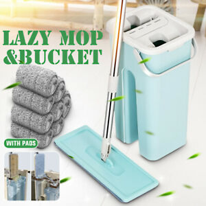US Squeeze Mop And Bucket Hand Free Flat Floor Self Cleaning Microfiber Mop