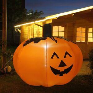 Riesen Kurbis 150x150 Cm Hoch Halloween Deko Von Led Beleuchtet Garten Aussen Ebay