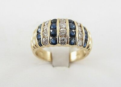 14k Yellow Gold Diamond And Sapphire Ring 1.40 carats
