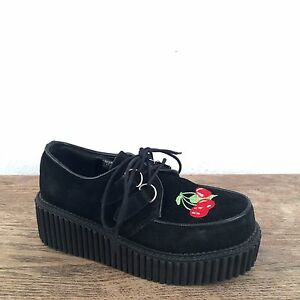 shoes demonia black suede leather embroidered cherry