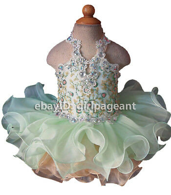 Infant//toddler//baby Gliz Crystals Floral Lace Pageant Dress 003AP
