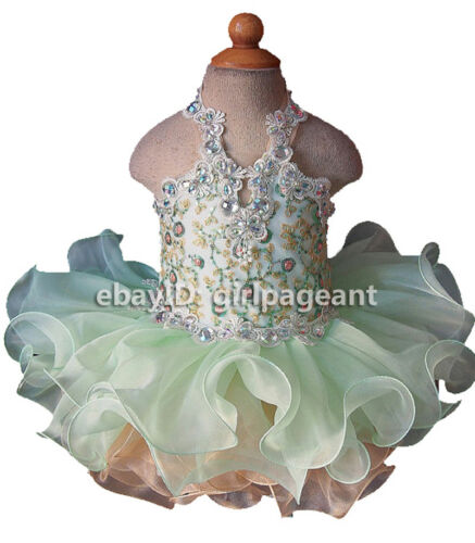 Infant//toddler//baby Crystals Sequins Lace Pageant Glitz Dress Mint Green G040-8
