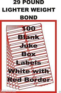 theme  28 LB  Light Bond FOR 45rpm free ship 100 BLANK JUKEBOX LABELS