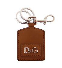 NWT DOLCE & GABBANA D&G Leather Metal Unisex Ring Hook Logo Keychain Keyring