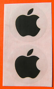 Apple-logo-stickers-in-BLACK-unusual-set-of-two-40mm-across-NEW