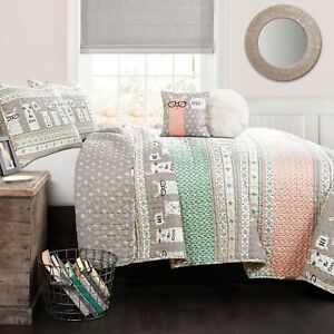 5pc-LLAMA-Queen-Quilt-Set-Southwest-Pink-Turquoise-Gray-w-Pillows-LUSH-DECOR