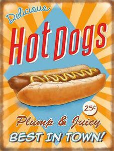 Hot-Dogs-Clasico-ANUNCIO-50-039-s-Cena-Cocina-Cafe-Alimentos-Retro-Metal-Pequena