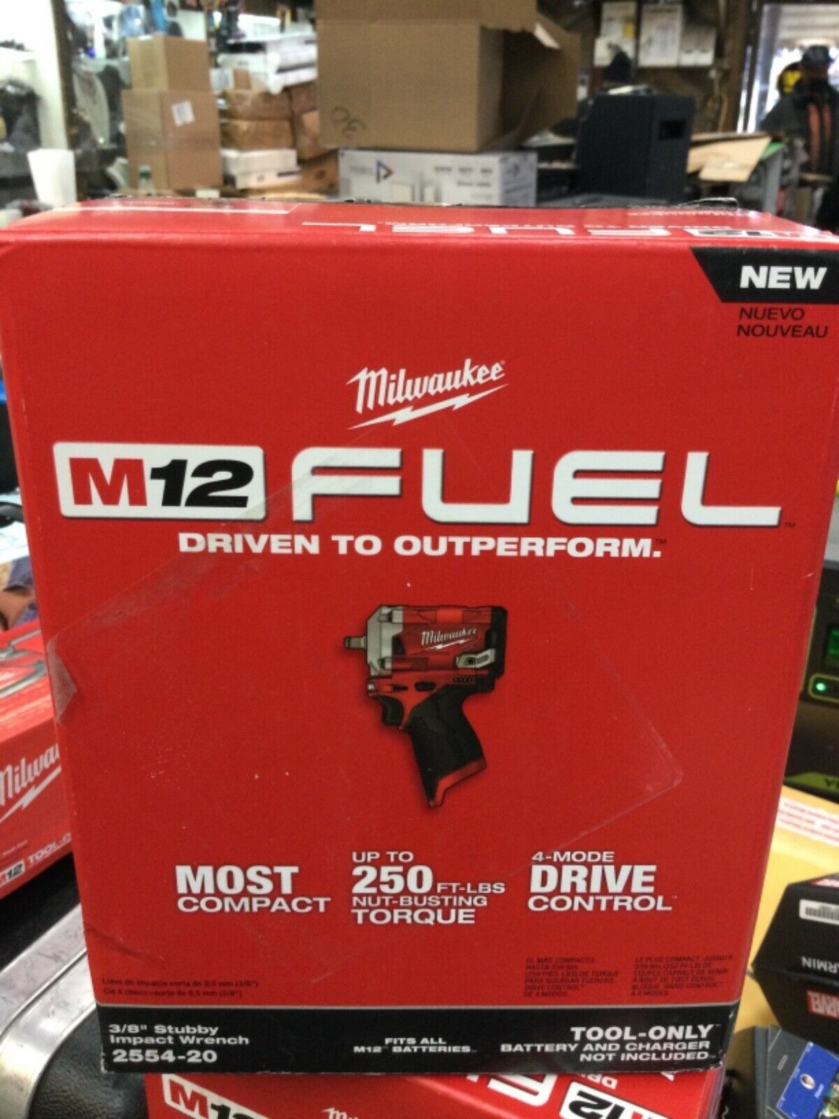 """Milwaukee 2554-20 M12 Fuel 3//8"""" Stubby Impact Wrench Tool-Only NEW!"""