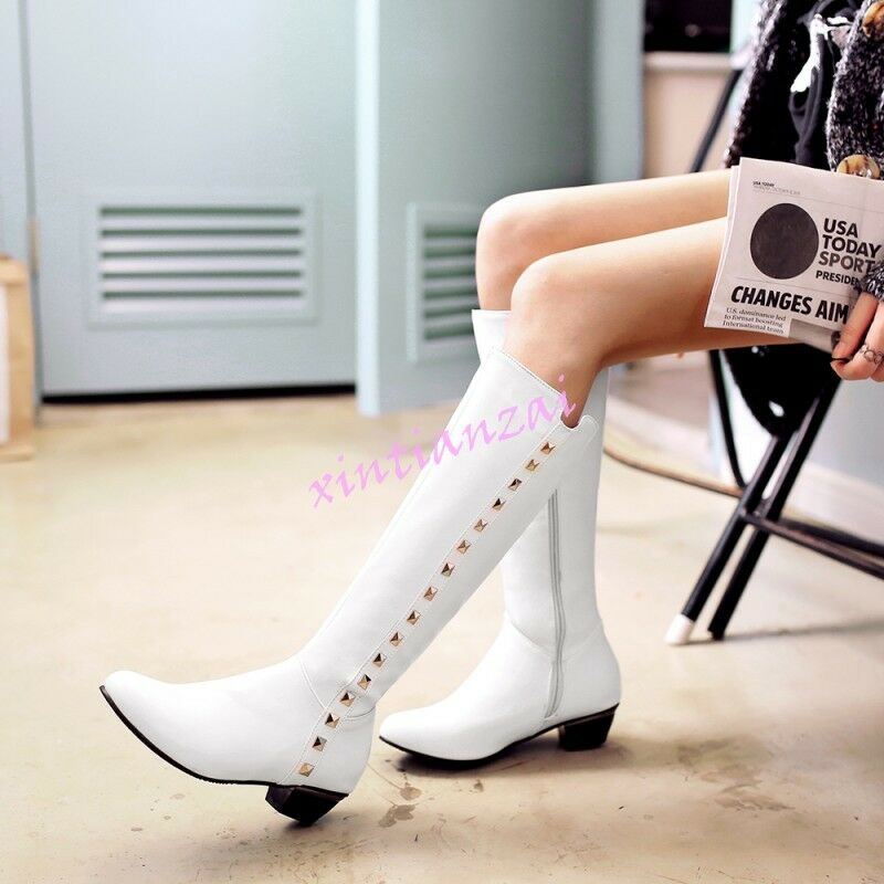 Womens Knee Rivet High Boots Low Heel Rivet Knee Leather Riding Pull On Shoes HOT US 4-12.5 de00d9