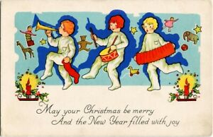 Christmas-CHILDREN-MARCHING-BAND-w-LONG-SHADOWS-amp-FLYING-TOYS-Art-Deco-Postcard