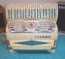TITANO 120 bass Accordion 2/4 Reeds Tube Chamber Accordian Teal & White VGC