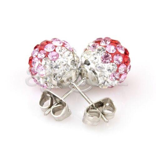 10mm Women Rhinestone Crystal Pearl Elegant Earstuds Earrings Jewelry 37 Color