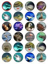 "x24 1.5"" Mixed Marine Habitat Animal Life Cupcake Topper On Edible Rice Paper"