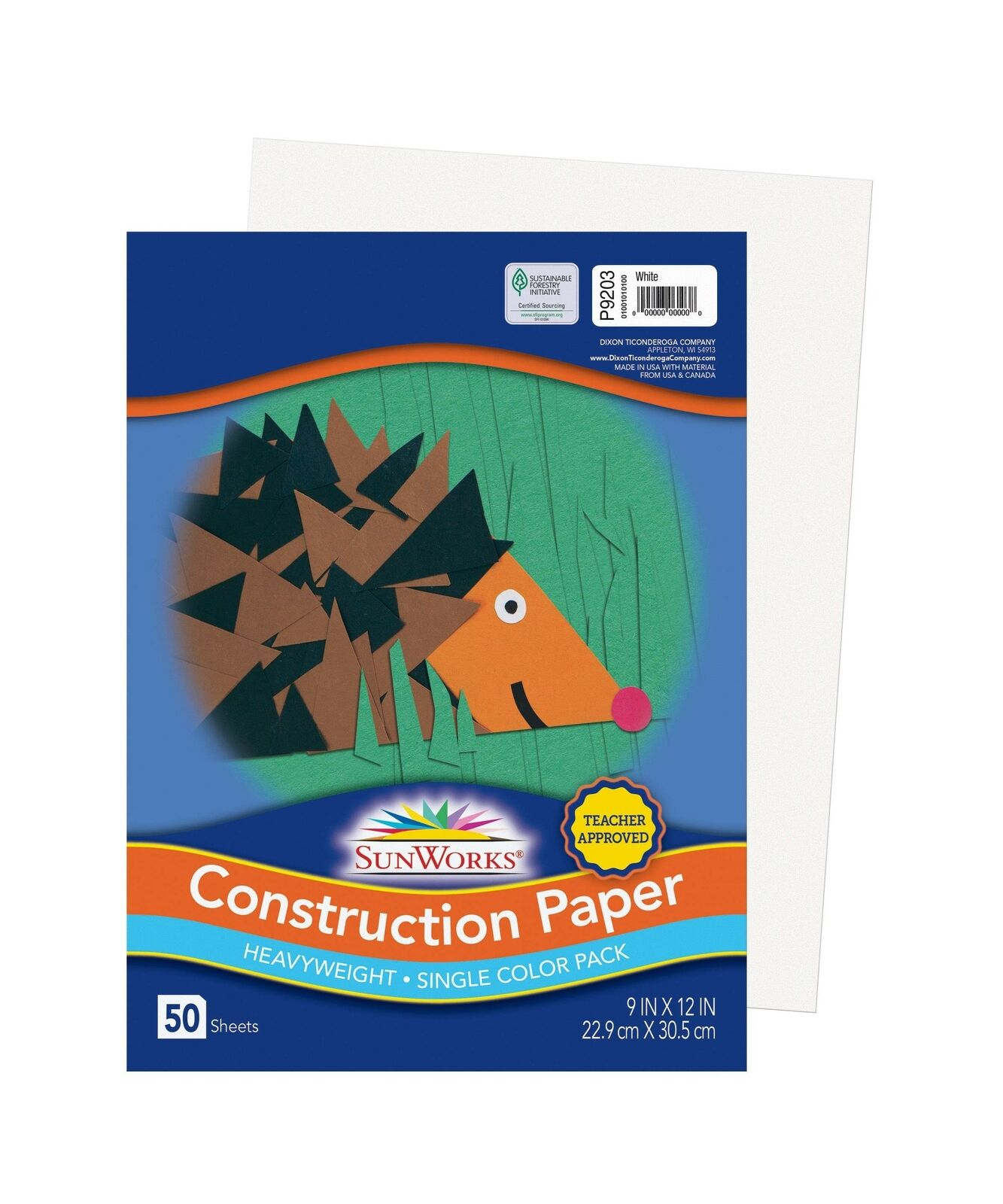 9 x 12 50 Sheets//Pack SunWorks 9203 Construction Paper 58 lbs White