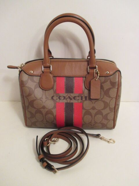 b3de73f48e299 COACH Brown Signature Varsity Stripe Mini Bennett Handbag Crossbody Purse  F38401